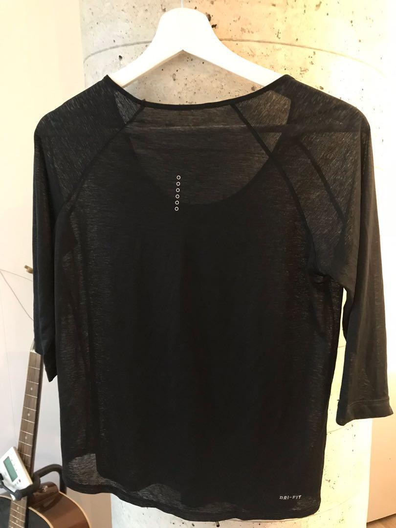 NIKE Womens Black Sheer Activewear Top Small