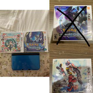 Nintendo 3DS XL 32GB & 3 Games Fisik (Hatsune Miku Project Mirai, Kingdom Hearts 3D, and Pokemon Moon) + 4 Games Digital
