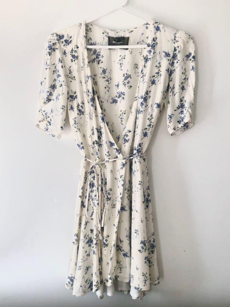 Reformation floral wrap dress (s)
