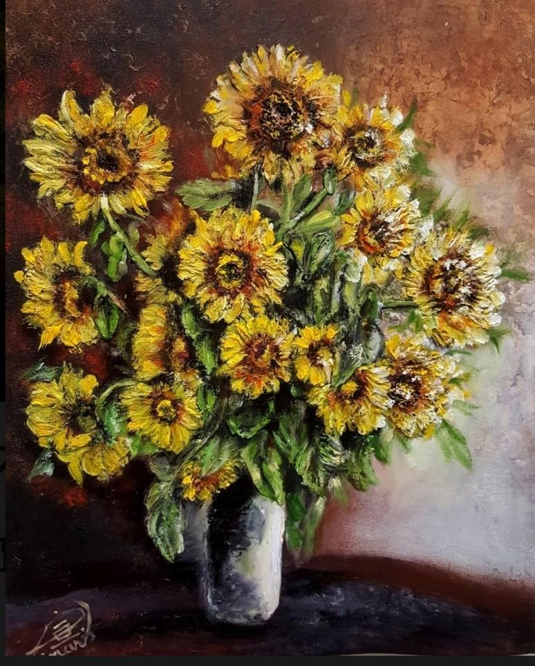 黃力宣 原著油畫 -立體油雕畫-向日葵