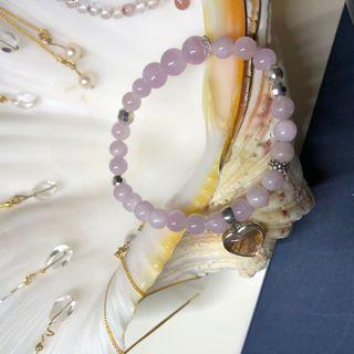 紫鋰輝 愛心玫瑰金 天鐵 925純銀 手串 手珠 手鏈 手環 粉紅色 玫瑰粉 粉紫色 超美