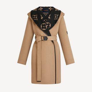 超限量駝棕色 GIANT MONOGRAM 提花織物裹式大衣