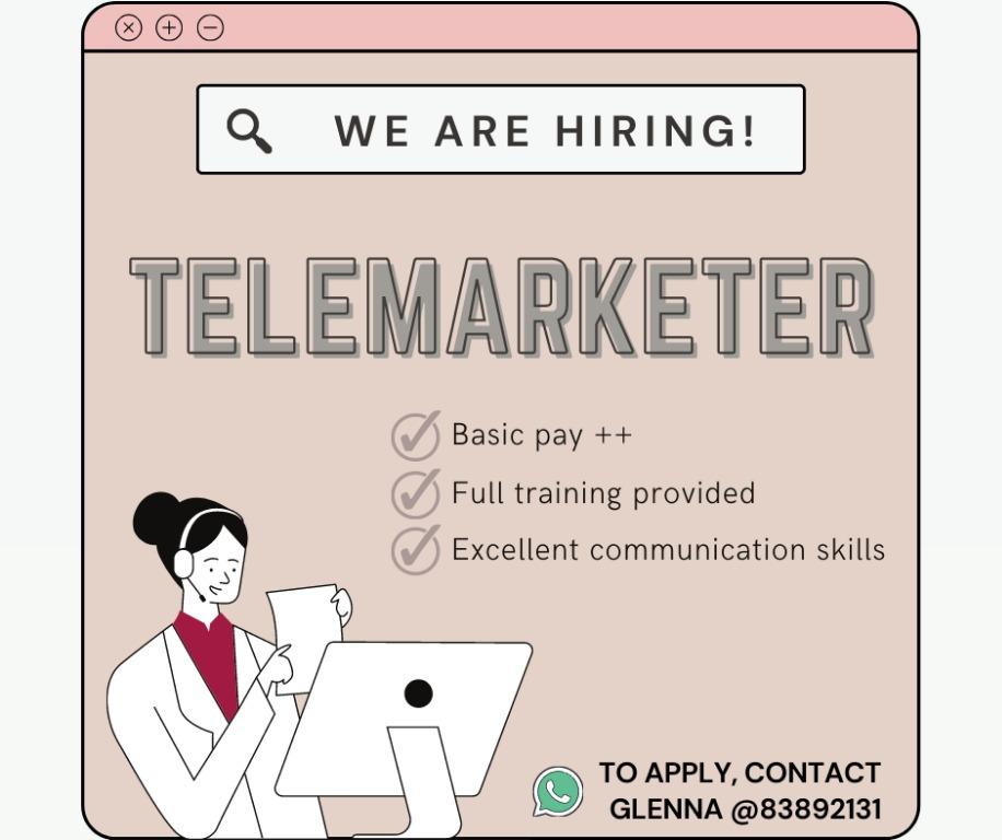 ☎️ TELEMARKETER / APPOINTMENT SETTER 📞 S$2,500