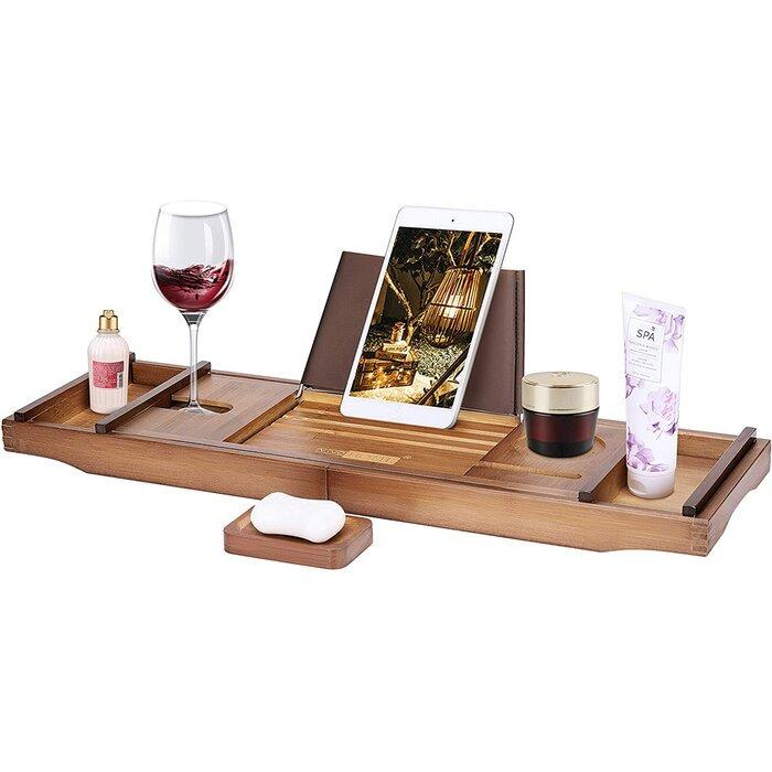 Expendable Bamboo Bathtub Caddy Tray Bath with Phone/Tablet Holder, Soap Tray, Glass Slot