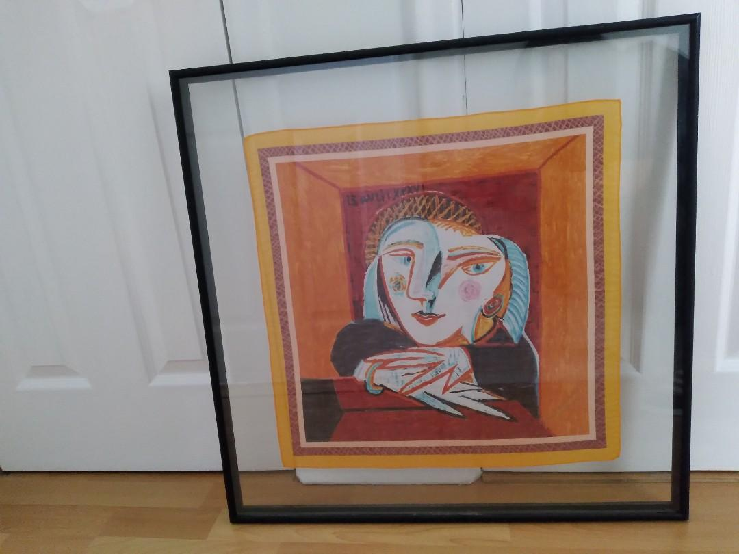 REDUCED Framed Hand-painted silk Picasso