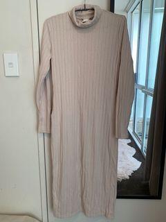 Ribbed dress beige