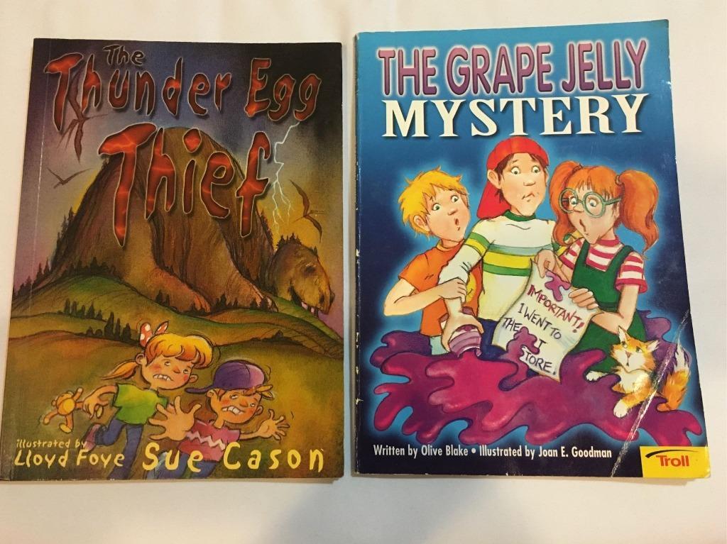 90%新2本英文平裝繪本The grape jelly mystery The Thunder Egg Thief