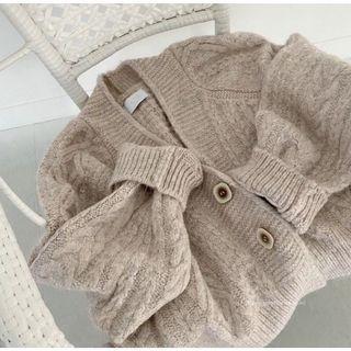 韓國🇰🇷短板粉色方釦厚針織外套💕