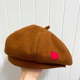 咖啡色 貝類帽 日系帽 畫家帽