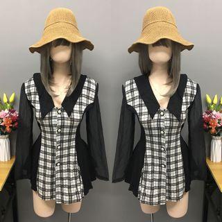 Black&white checkered long blouse/mini dress (size:medium)