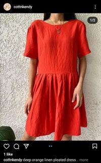 Deep Orange Linen Pleated Dress