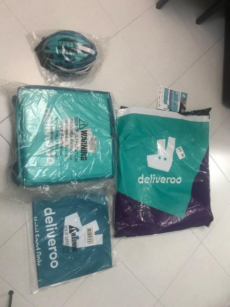 DELIVEROO BAG AND HELMET
