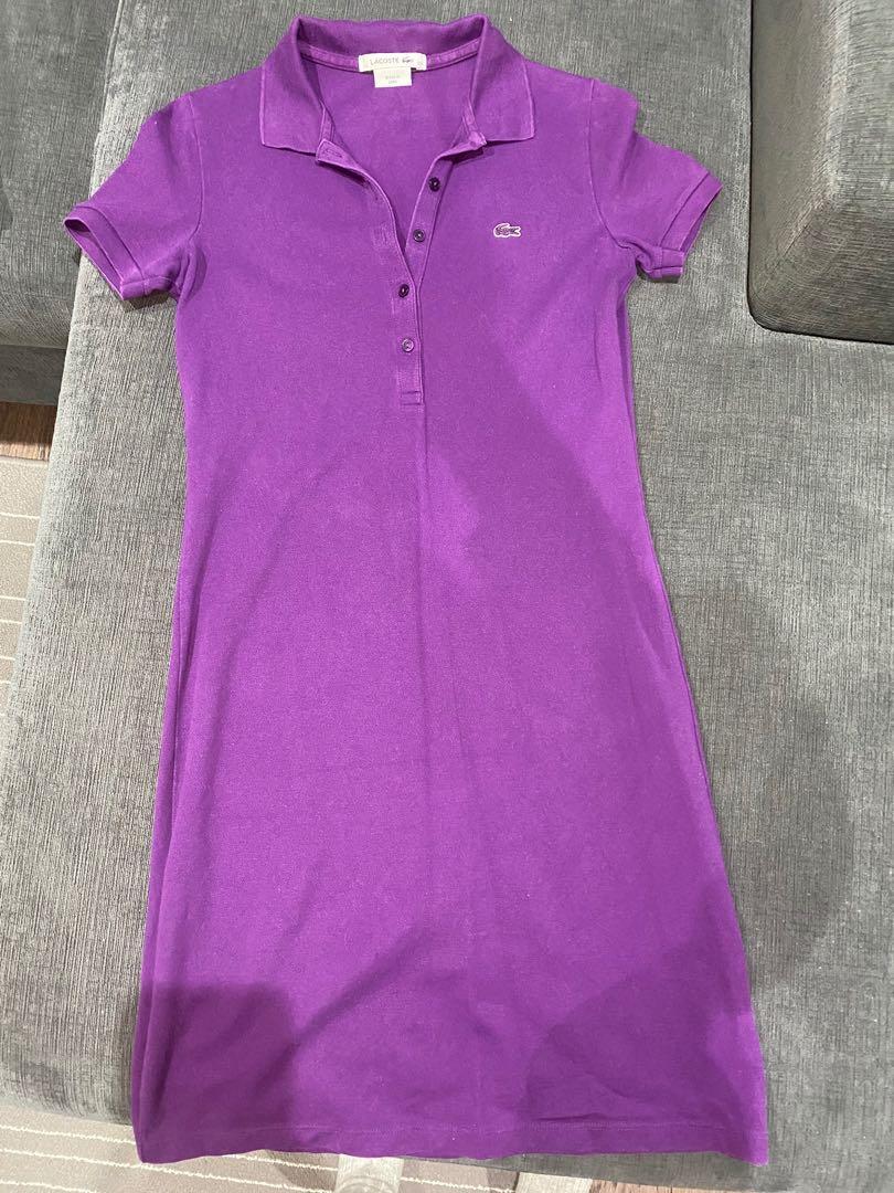 Lacoste women's stretch cotton pique polo dress size 34