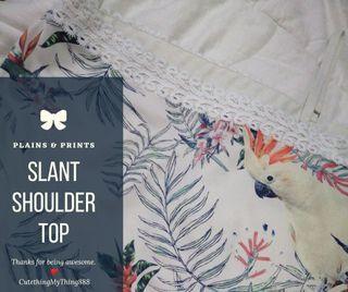 PRINTED SLANT SHOULDER TOP