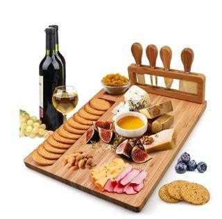 Rectangular Cheeseboard Or Serving board with 4 pcs Knife set on a magnetic holder
