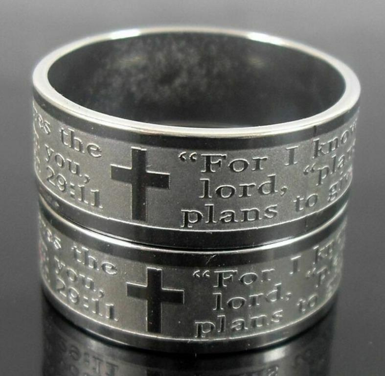 Unisex For I Know The Plans Jeremiah 29:11  Stainless Steel Band Rings