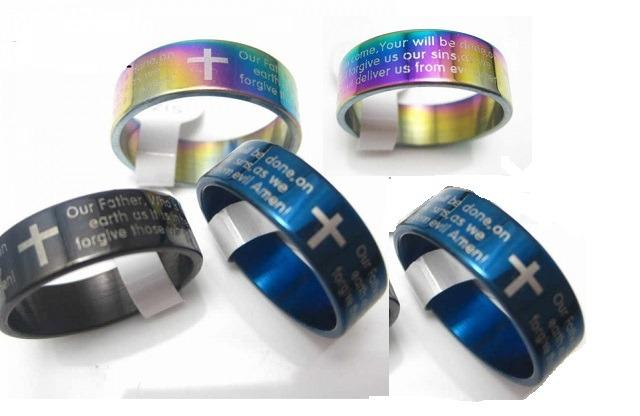 Unisex Prayer Stainless Steel Band Rings