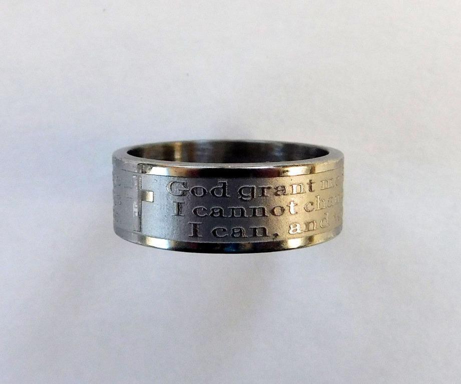 Unisex Serenity Prayer Stainless Steel Band Rings