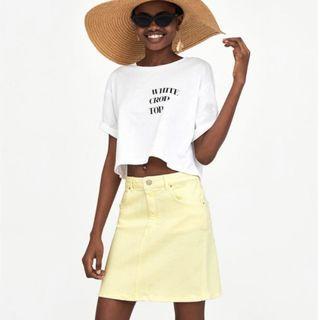 Zara亮黃色高腰牛仔裙 牛仔短裙 夏日亮系短裙 彈性牛仔短裙XS