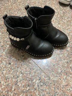 九成新水鑽菱格馬靴