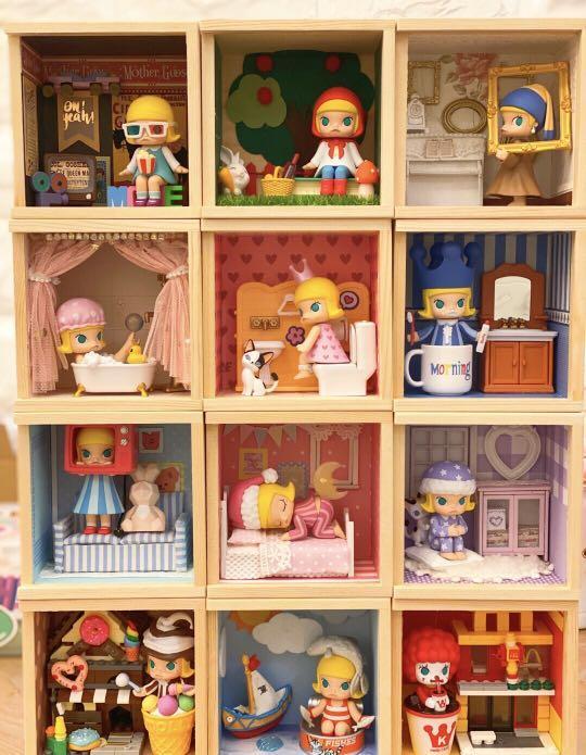 Molly的一天 場景展示盒 盲盒小屋 手作小屋 手工訂製 泡泡瑪特小屋 袖珍小屋 盲盒場景