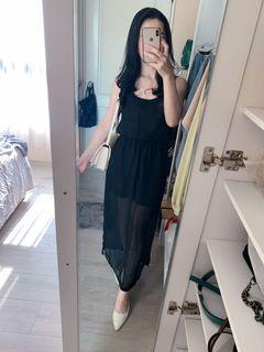 黑色細肩帶開衩雪紡長裙