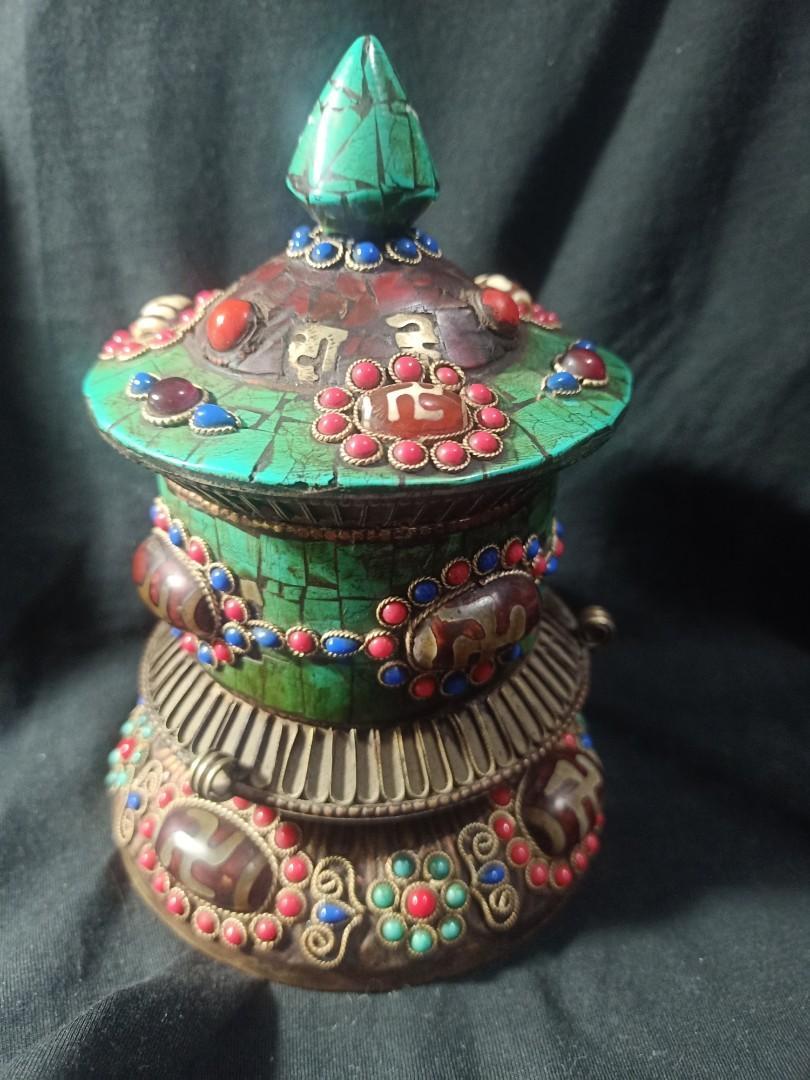 藏傳珍貴密宗老法器法輪~天珠鑲紅珊綠松多寶~轉運輪