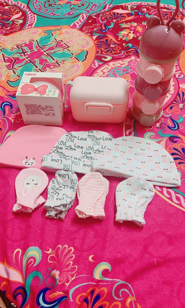 嬰兒帽 手套七件組