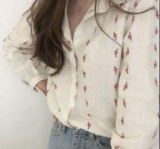 正韓 小花襯衫 棉麻材質