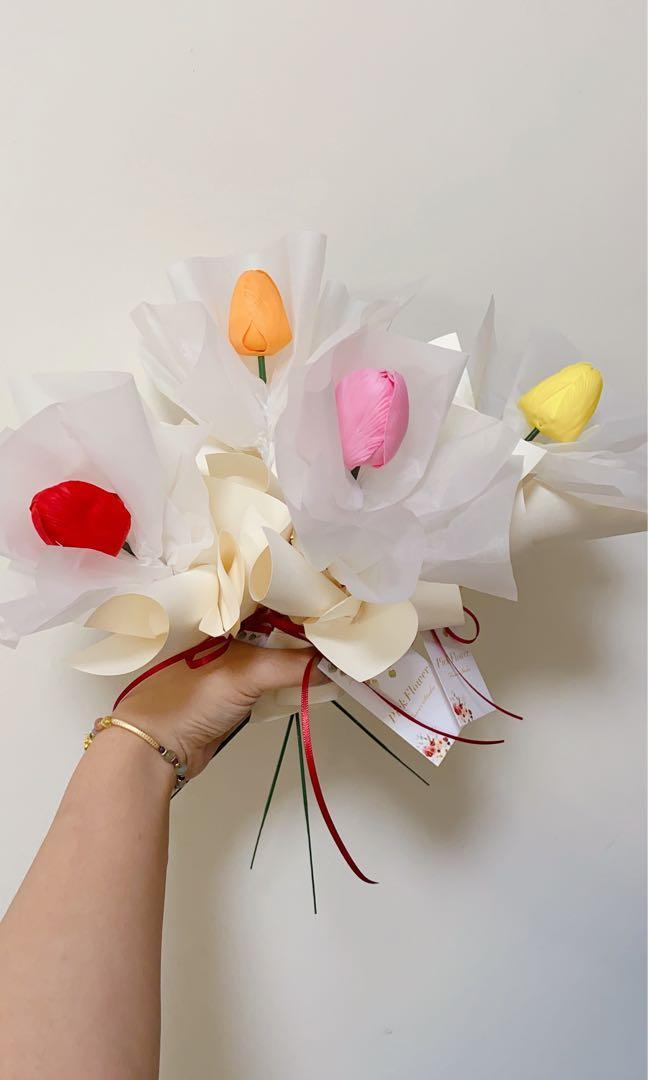現貨❤︎鬱金香花束 香皂花 仿真花 母親節花束 韓式花束