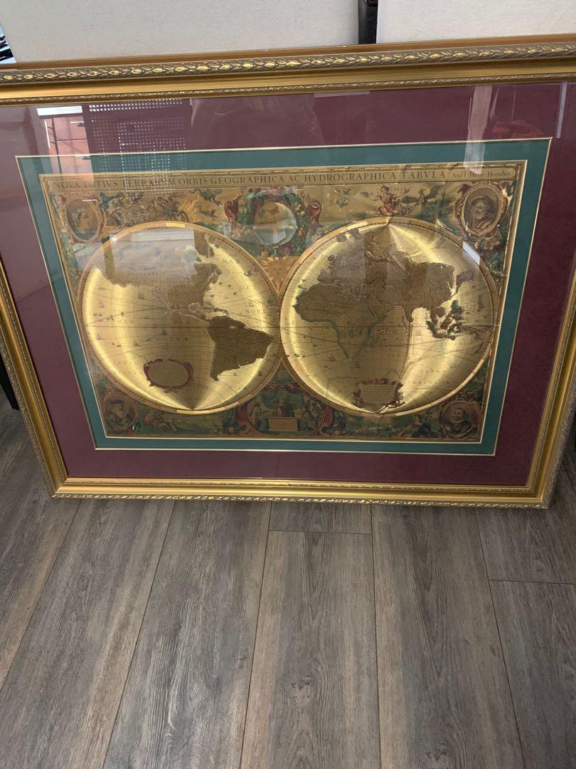 Framed world art, gold foil