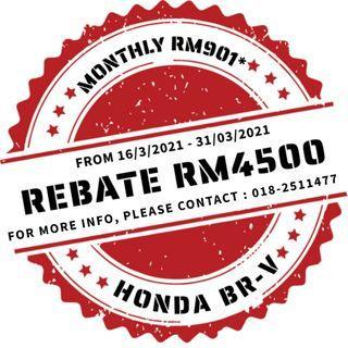 HONDA BR-V REBATE RM4500 UNTIL 31 MARCH 2021
