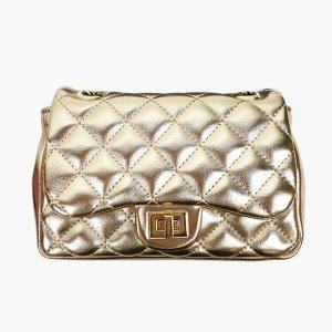 [JSK065] Metal Gold Chain Bag With Quilt Pattern/ Made In Korea