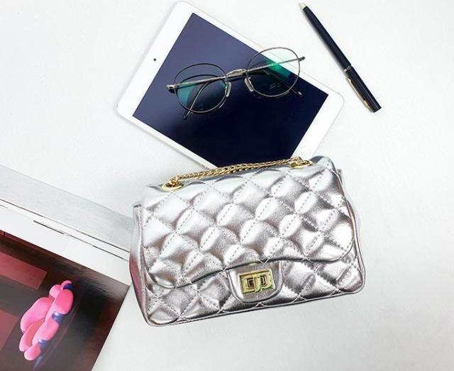 [JSK065] Metal Sliver Chain Bag With Quilt Pattern / Made In Korea