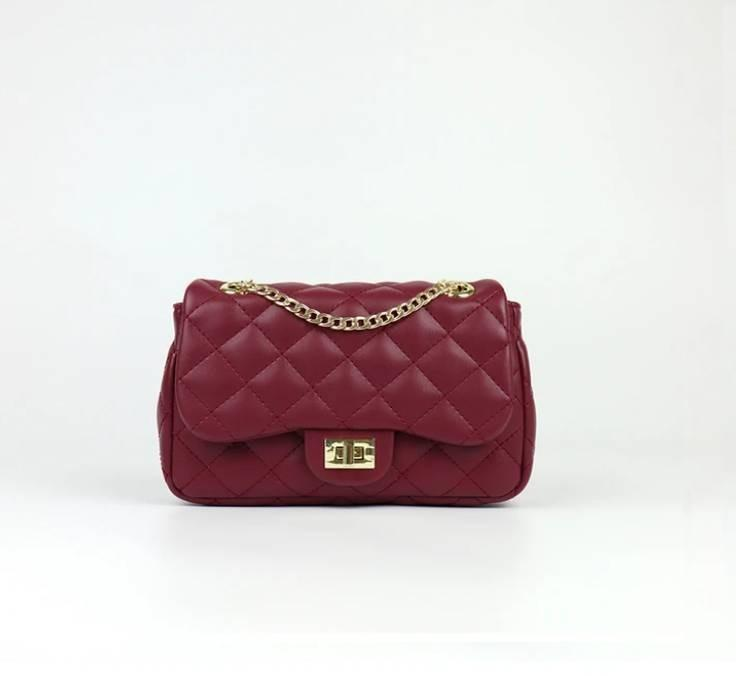 [JSK082] Quilted Chain Bag_Burgundy / Made In Korea