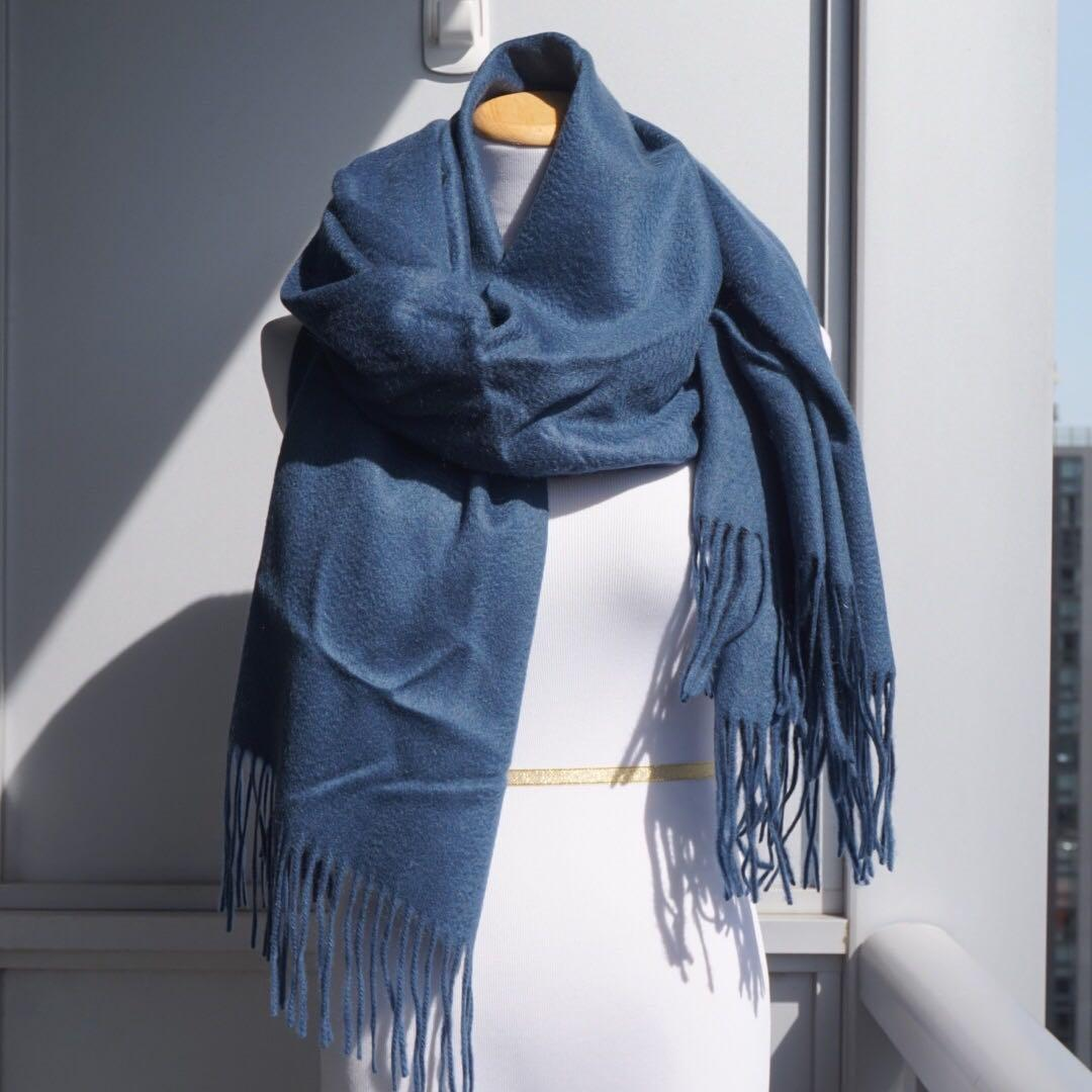 NWOT🌈 Luxury 100% Cashmere Scarf Wrap in Deep Blue
