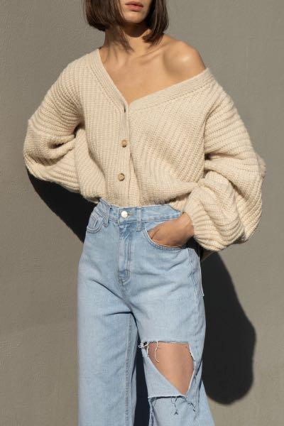 Oak+Fort Cropped button cardigan
