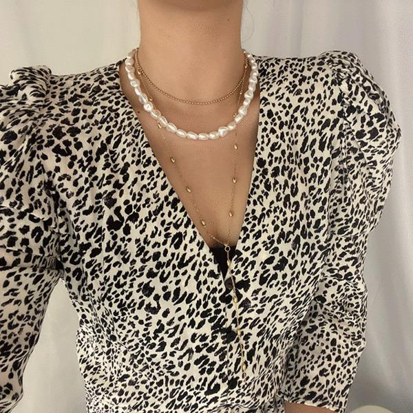 Pearl Freshwater Chain Layered Necklace Set Pearl Freshwater Chain Layered Necklace Set