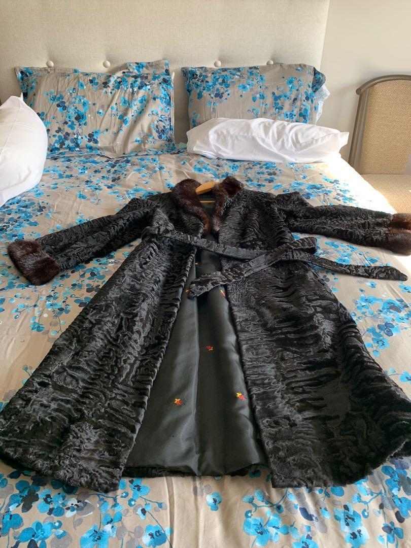 Persian lamb coat with mink collar
