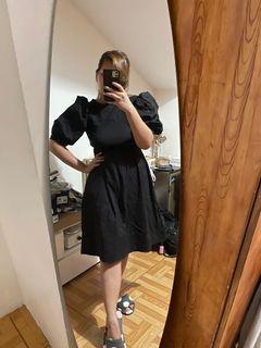 Puff Sleeve Black Dress