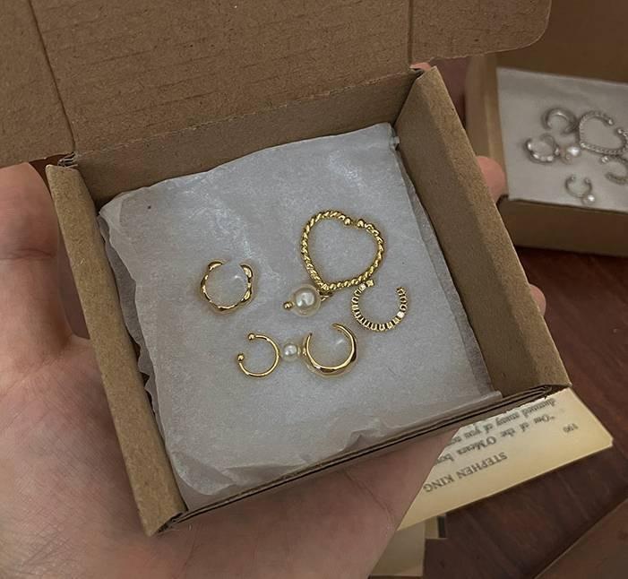 Set Of 5 Ear Cuffs_Sliver (Sliver&Gold)