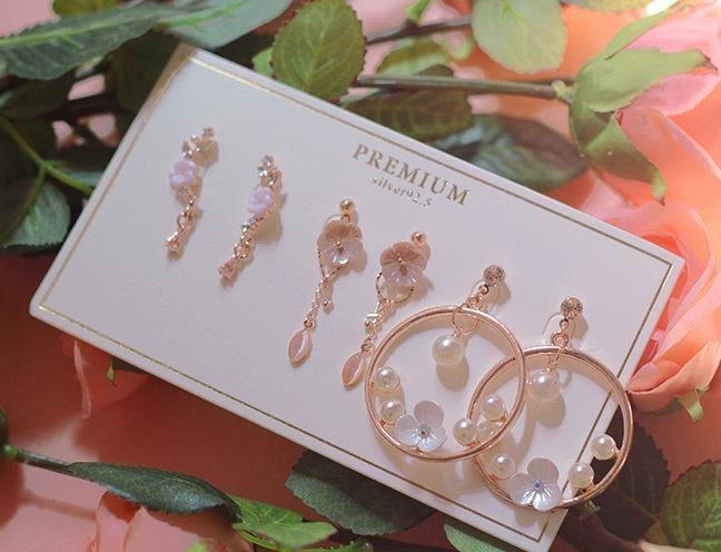 [Silver 92.5 Needle] Rose Of Sharon Rose Gold Earring Set