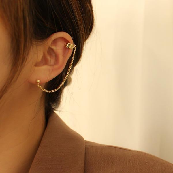 Simple Two-Pin Lining Ear Cuffs 2Types (Sliver, Gold)