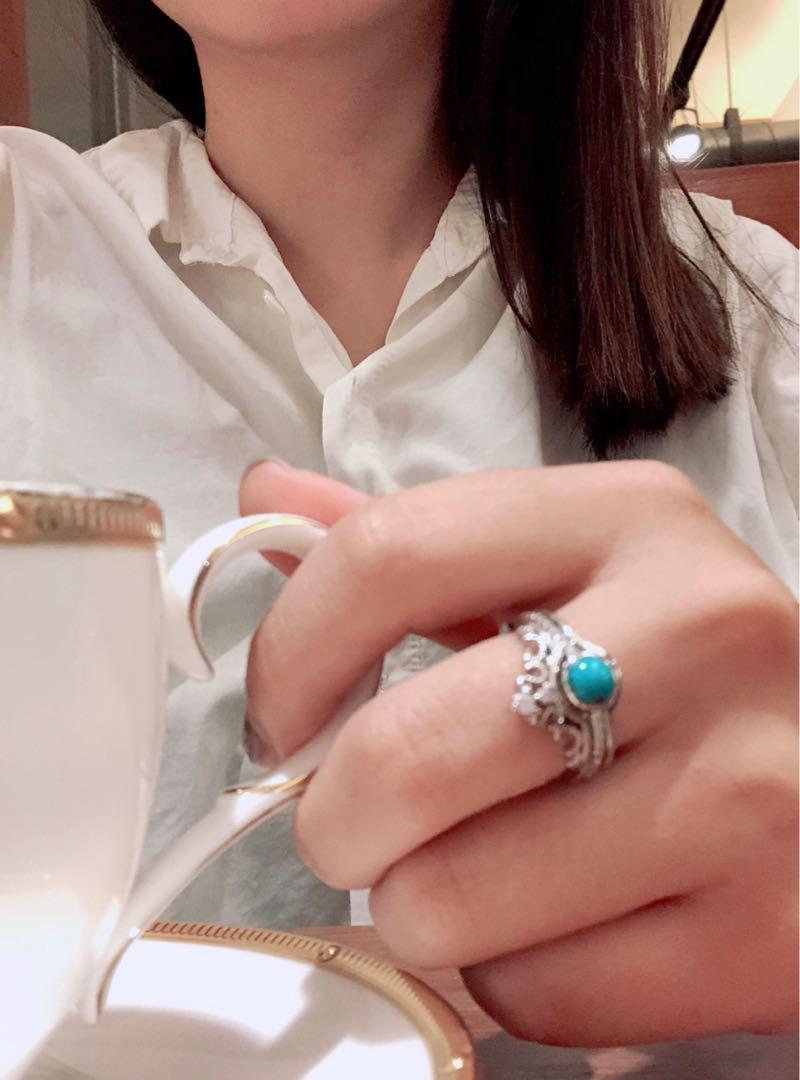 綠松石純銀925兩戴戒指