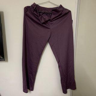 深紫落地西裝褲
