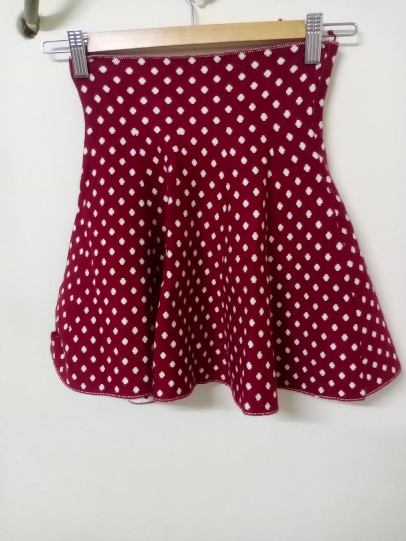 毛料滿版小圓點短裙