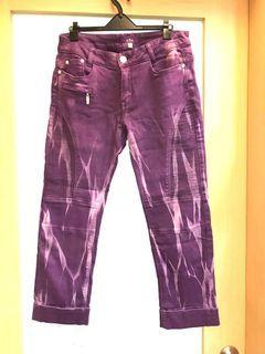 品牌紫色大理石紋褲