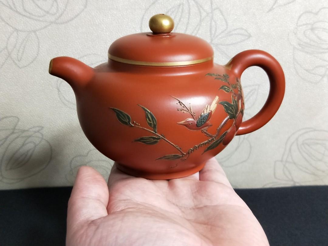 早期祖父茶行留下來的老壺~ 分享讓藏給各位同好~ 紫砂精品鎏金掇只壺