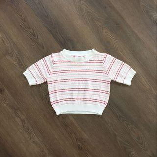 白粉紅條紋針織上衣 Knit Crop Top 短版