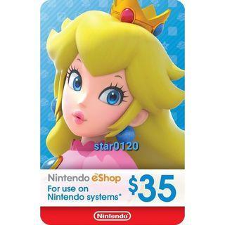 [官方卡]美國 Nintendo Switch eShop Cards 任天堂 禮物卡 預付卡 35 USD 美服 美版